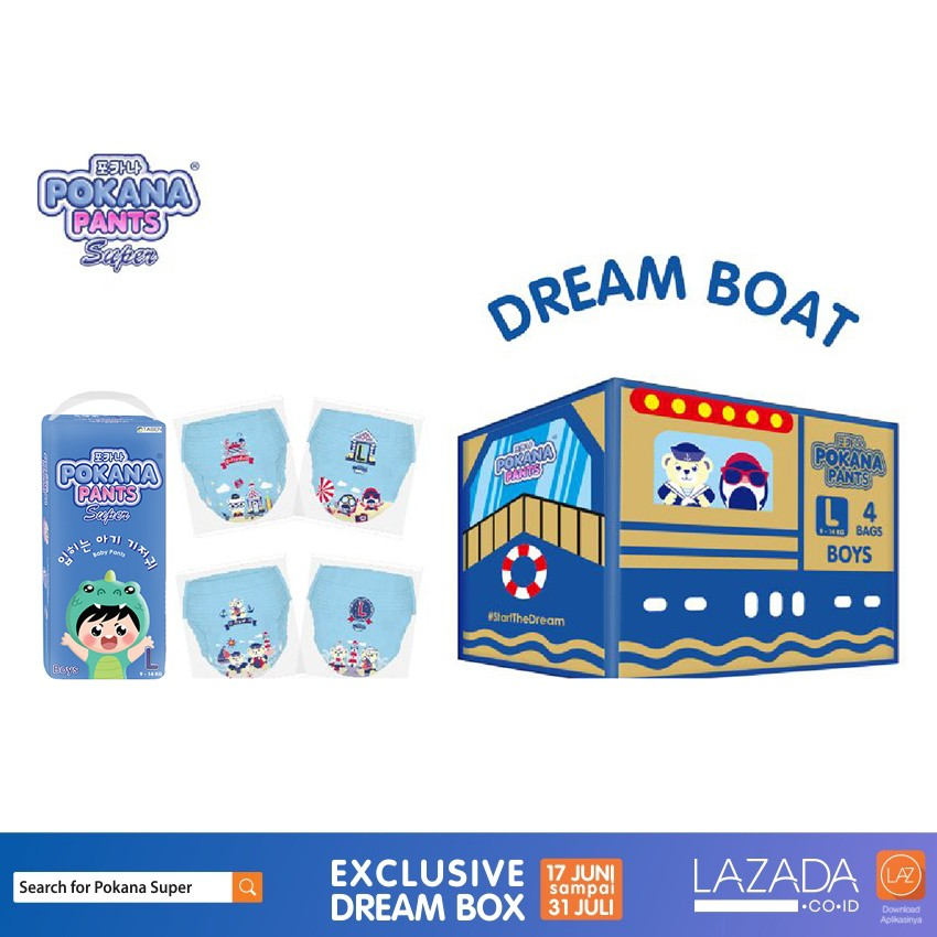 Jual Dream Boat Box Pokana Super Pants Boy L26 Isi 4 Free Matching Sticker Branded Original